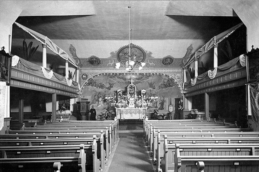 church interior vintage photo.